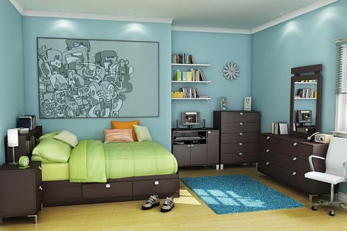 Blue, Brown and Green Boy Bedroom